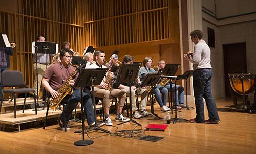 Students rehearsing jazz music.