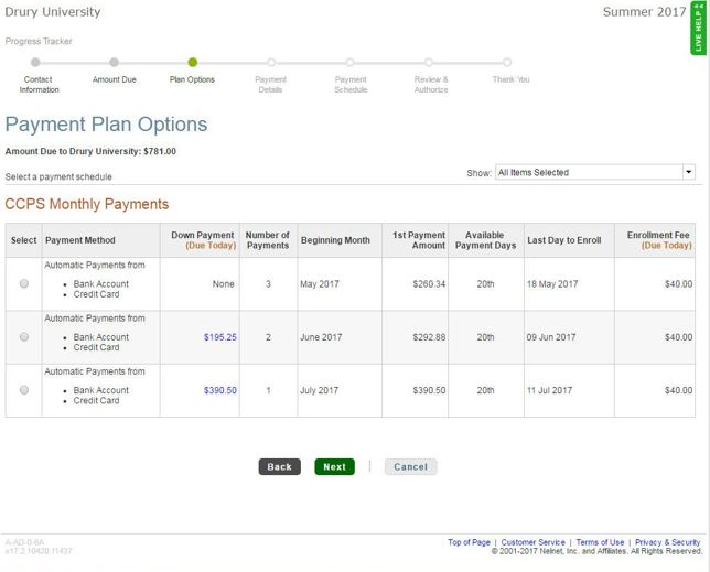 Screen capture of payment plan options.
