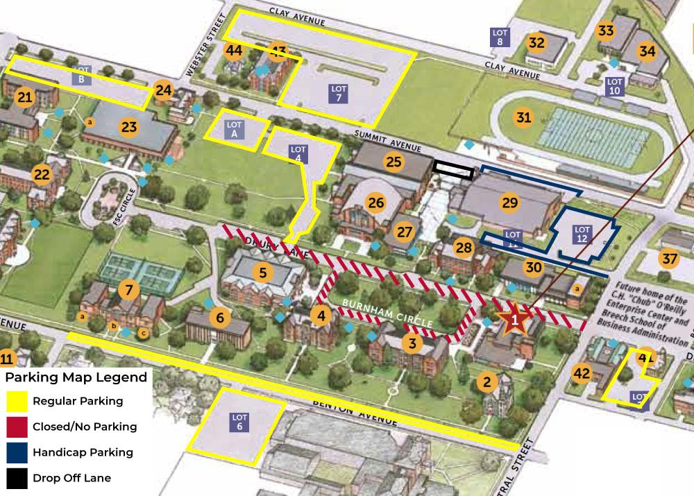 Commencement parking map.