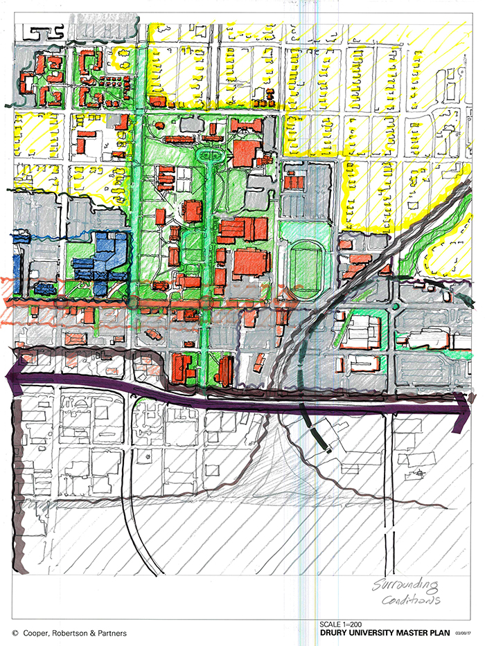 artist drawing showing drury campus and who the school should be local partners with.
