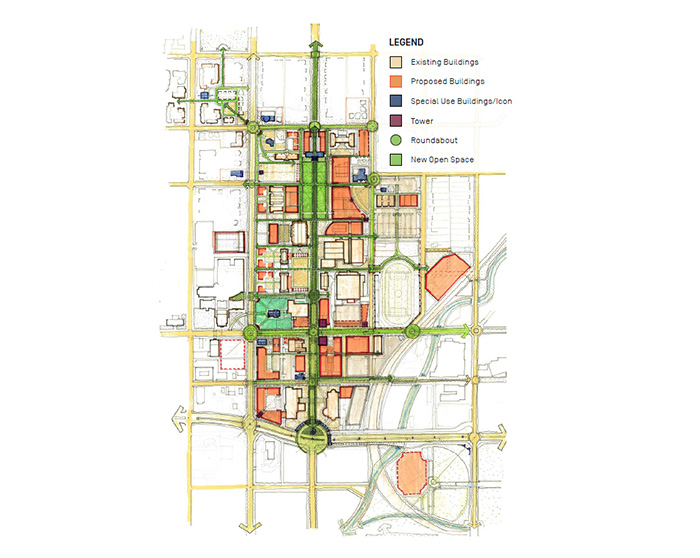 artist drawing of drury campus highlighting new roads and transportation features around campus.