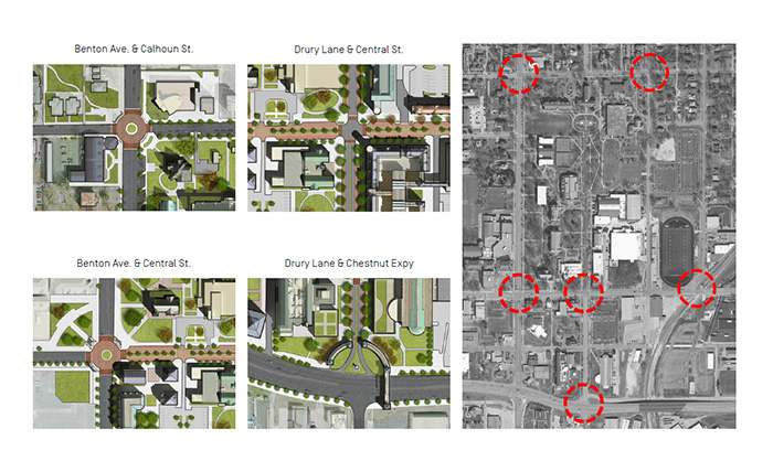 """a map of main drury intersections showing """"node"""" with hardscape, landscape, wayfinding and architecture."""