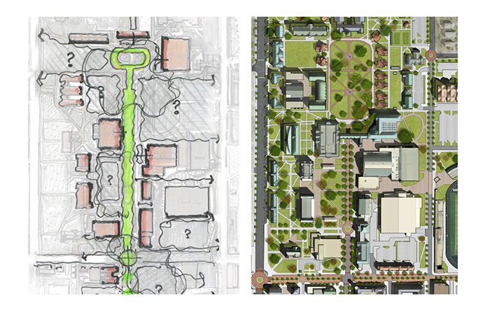 campus map showing the transformation of drury lane as the new backbone of campus.
