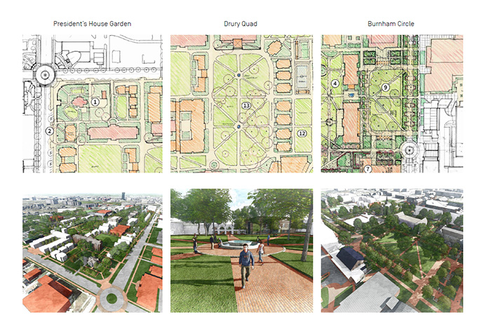 proposed artist drawings of the new Drury quad and president's house garden.