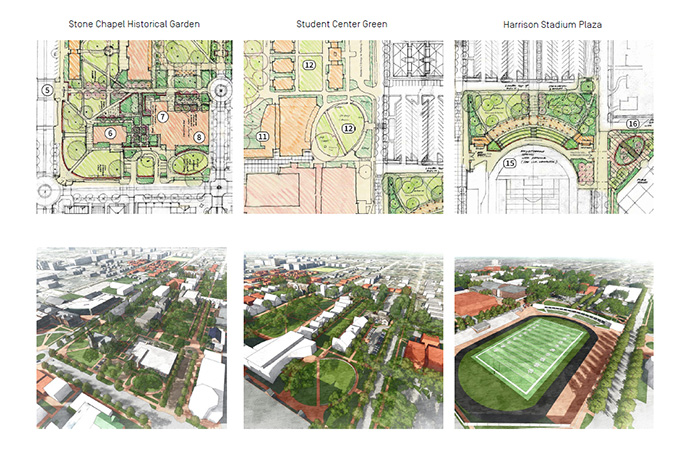 proposed artist drawings of the new stone chapel historical garden and student center green.