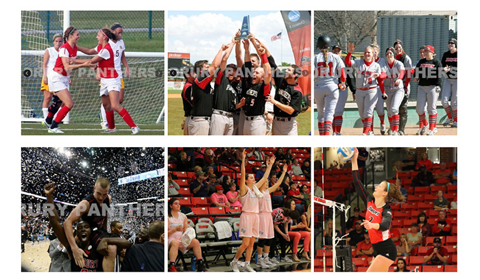 various imagery of Drury athletics including basketball, baseball, and soccer.