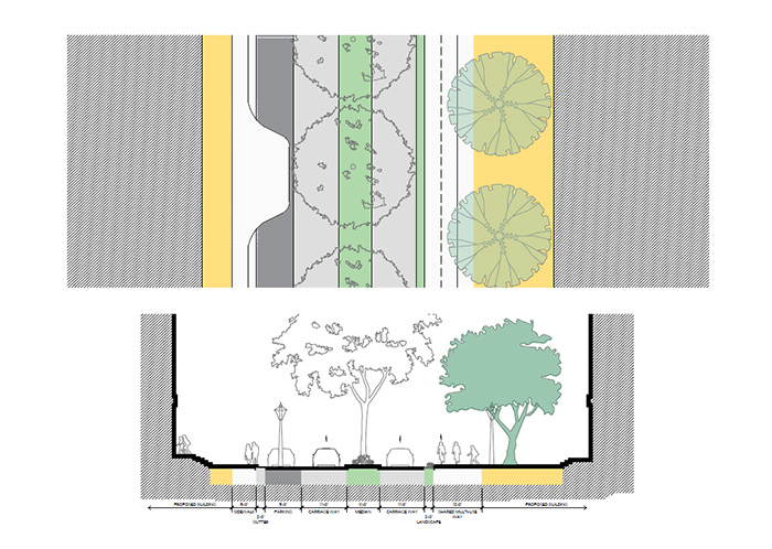 artist drawing of Central Street streetscape with landscaping.