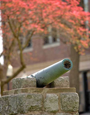 A canon on Drury's campus.