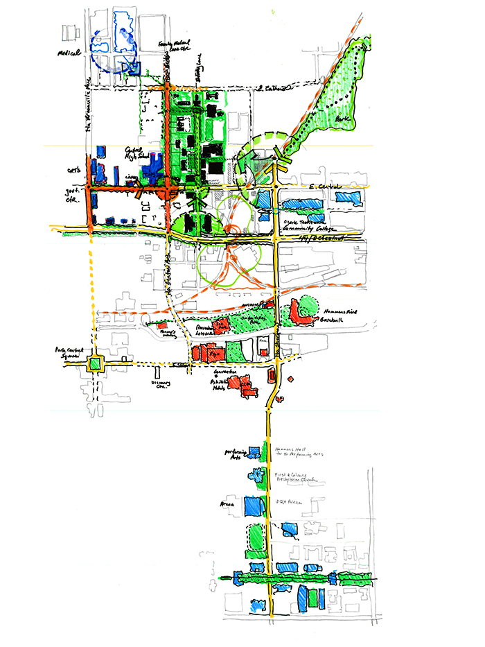 artist drawing of drury campus map showing several sites adjacent to the core area of campus that the University should focus on in the near or long term.