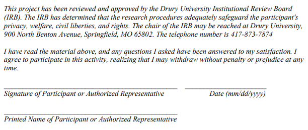 Screen shot of required consent message on IRB form.