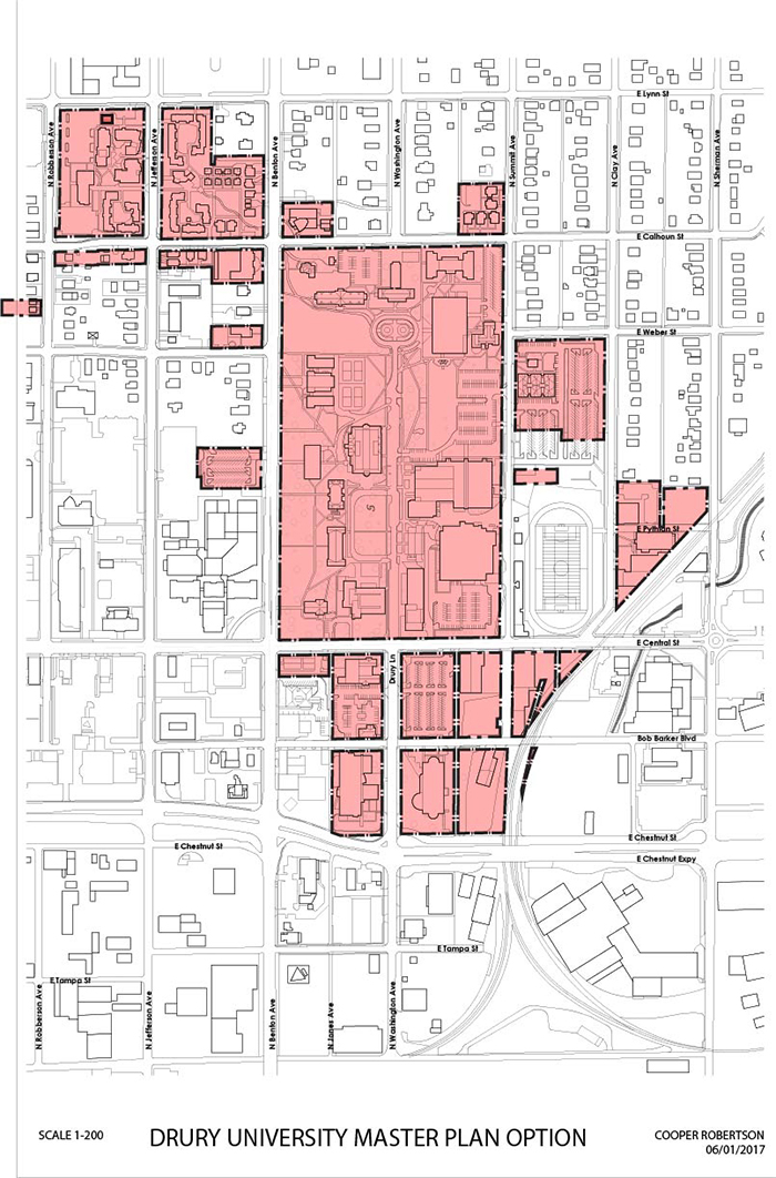 artist drawing map of drury campus showing it is not land locked in springfield.