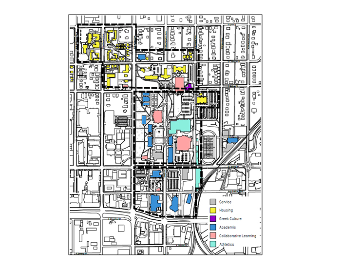 a campus map showing drury is separated into three campuses instead of one.