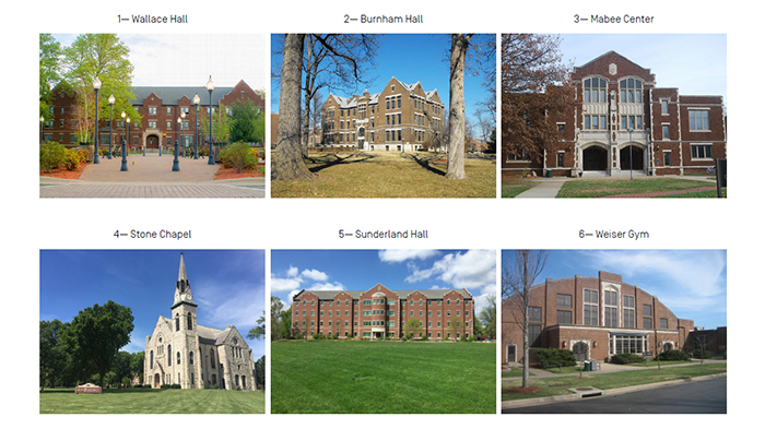 photos describing drury's current architecture including stone chapel, sunderland hall, wallace hall, and burnham hall.