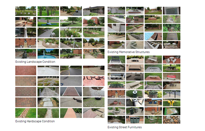 a montage of images showing drury's mismatching current campus accents, landscape, and architecture.