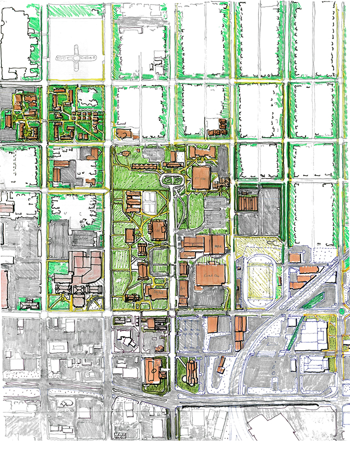 artist drawing showing too much asphalt on the current campus.