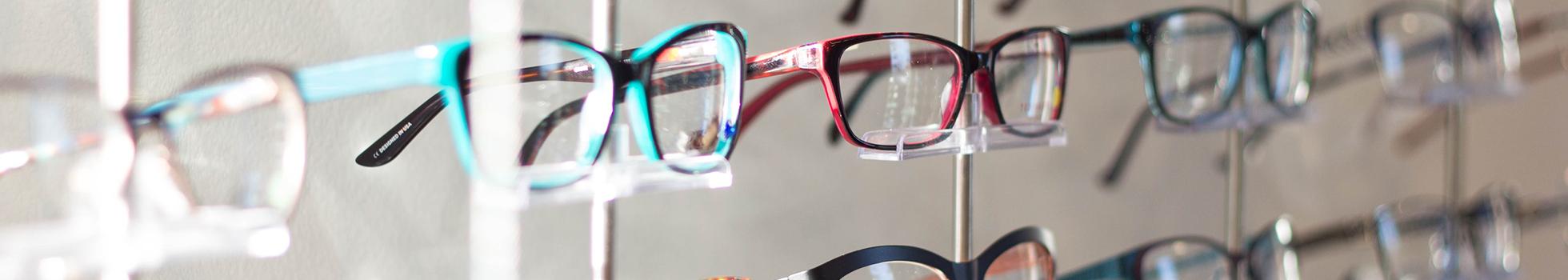 Eye glasses on display.