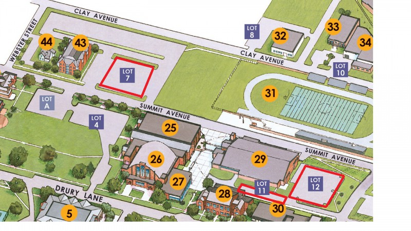 Map of the different parking lots for drury.