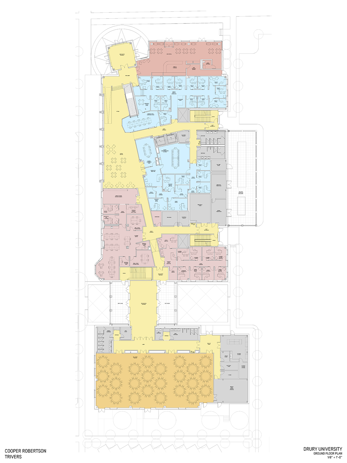 """Ground floor plan for the C.H. """"Chub"""" O'Reilly Enterprise Center and Breech School of Business Administration."""