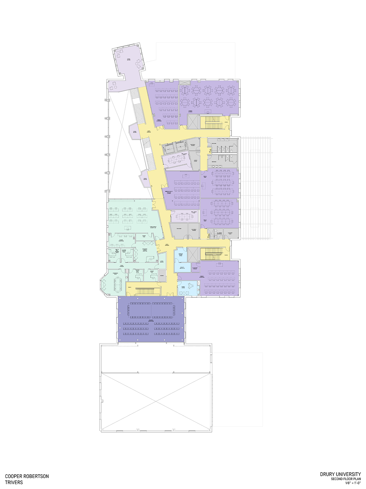 """Second floor plan for the C.H. """"Chub"""" O'Reilly Enterprise Center and Breech School of Business Administration."""