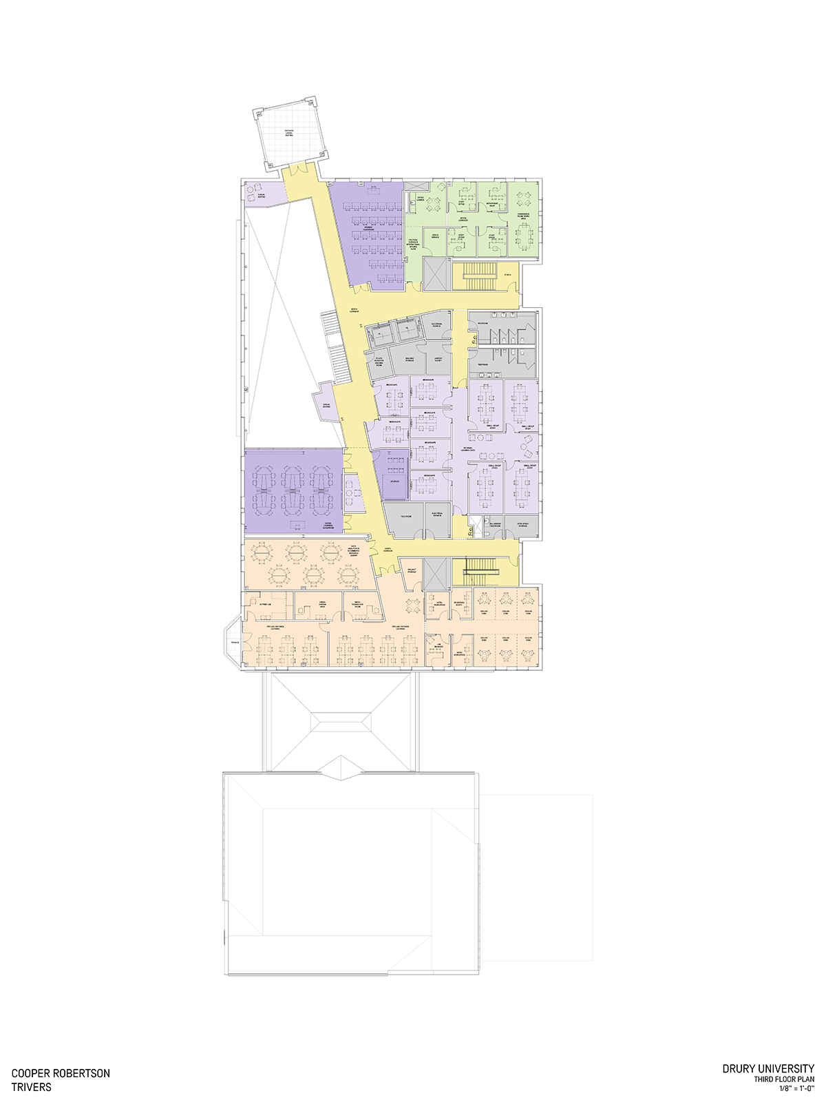 """Third floor plan for the C.H. """"Chub"""" O'Reilly Enterprise Center and Breech School of Business Administration."""