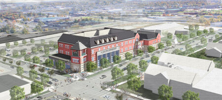 """Exterior rendering of the C.H. """"Chub"""" O'Reilly Enterprise Center and Breech School of Business Administration."""