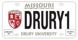 A Drury License plate.