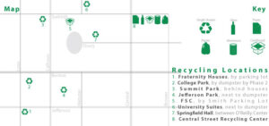 Map of places to recycle on campus.