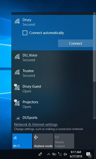 Screenshot of the Drury network.