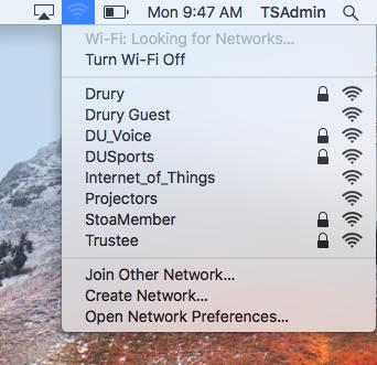 Screenshot of the network list on Mac OS.