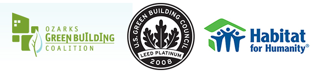 Logos for Ozarks Green Building Coalition, U.S. Green Building Council, and Habitat for Humanity.