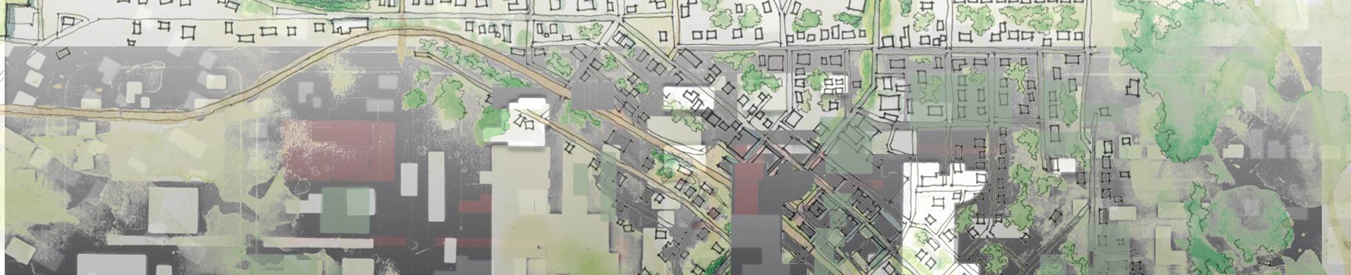 City building and landscape design plans.