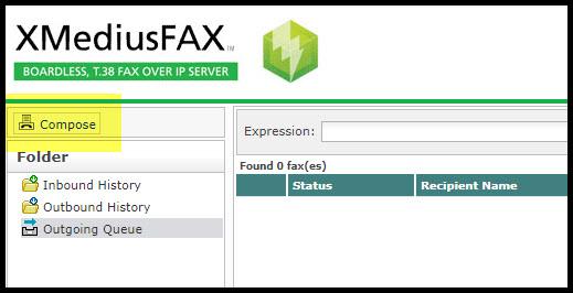 Screenshot of the XMediusFAX home page.
