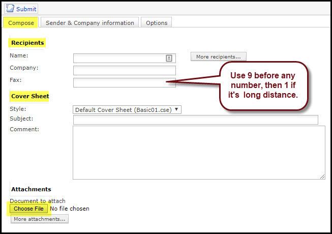 Screenshot of the Composte tab on XMediusFAX.