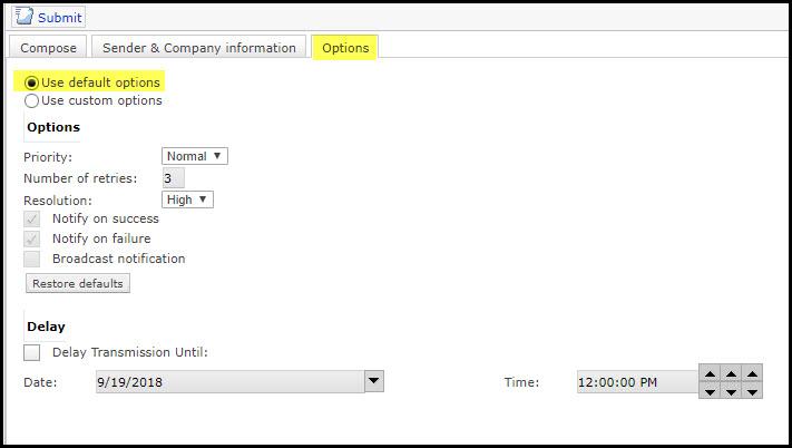 Screenshot of the Options tab on XMediusFAX.
