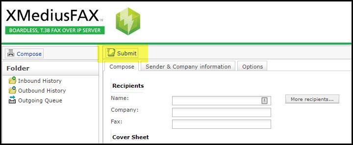 Screenshot of the submit button in XMediusFAX.