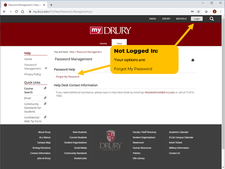 Screenshot of the Forgot my Password button in MyDrury.