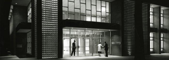 Historic exterior photo of Breech School of Business.