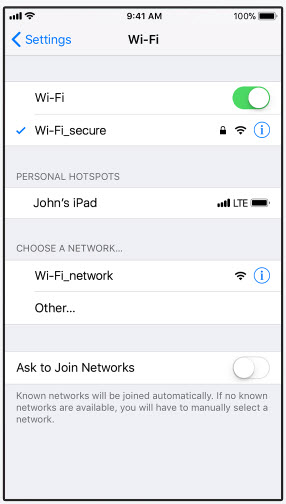 Screenshot of the network list on iPhone.