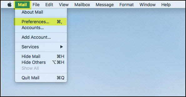 Screenshot of the Mail tab in the Mac header with Preferences highlighted.