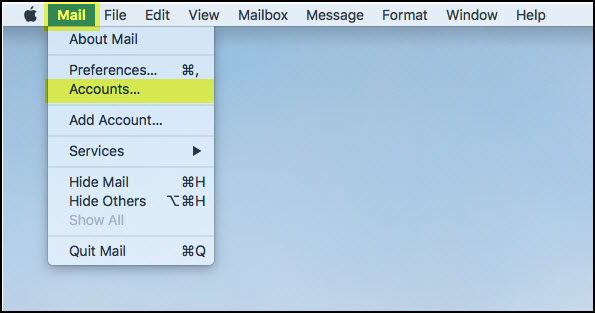 Screenshot of the Mail tab in the Mac header with Accounts highlighted.