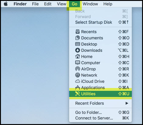 Screenshot of the Go tab in the Mac header with the Utilities option highlighted.