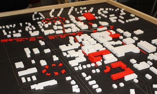 Plastic model of a city.