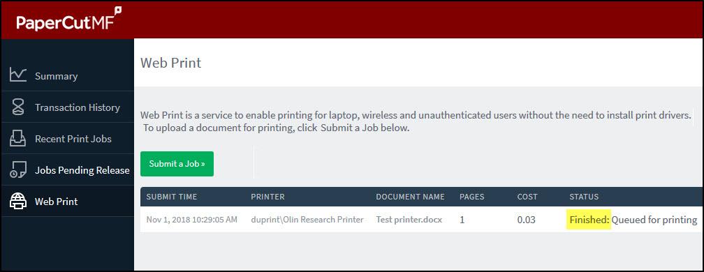 Screenshot of the status screen on the web print screen.