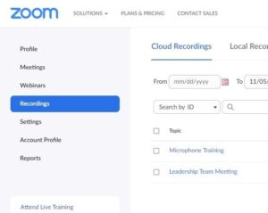Screenshot of the Zoom meeting Recording tab.