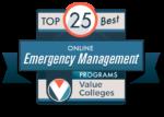 Logo for Top 25 best online emergency management programs.