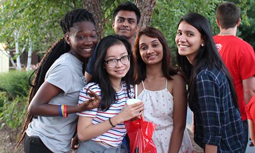 International students posing together.