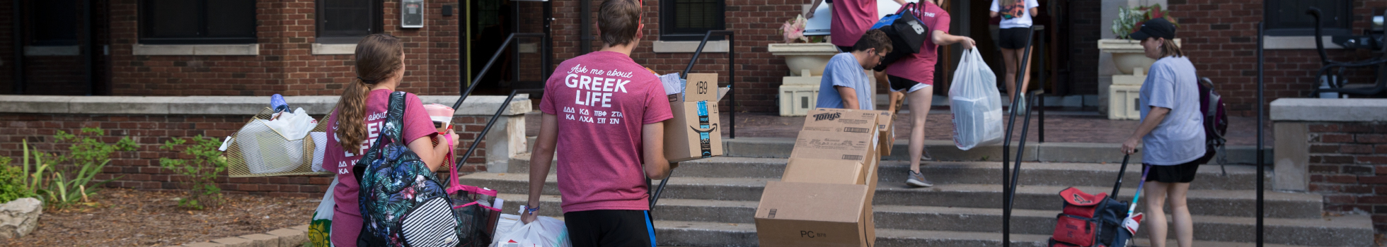 Students moving into dorms.