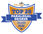 Top 20 paralegal degree programs logo.
