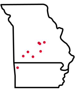 A map of Drury GO Locations in Missouri and Arkansas.