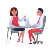 An illustration of a woman being interviewed.